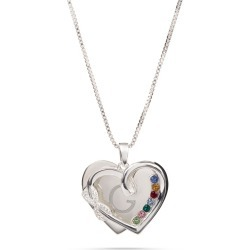 Sterling Silver Infinity Heart Pave 7-Birthstone Necklace