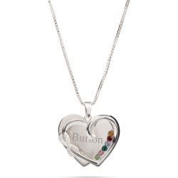 Sterling Silver Infinity Heart Pave 6-Birthstone Necklace