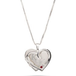 Sterling Silver Infinity Heart Pave 2-Birthstone Necklace