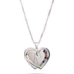 Sterling Silver Infinity Heart Pave 8-Birthstone Necklace