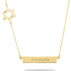 Gold Sterling Silver Star of David Bar Necklace