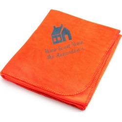Slate House on Bright Orange Fleece Blanket