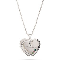 Sterling Silver Infinity Heart Pave 3-Birthstone Necklace