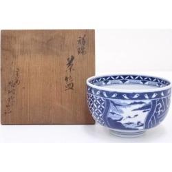 京焼高野昭阿弥造祥瑞茶碗 [Japanese dishes / Matcha porcelain bowl / Matcha bowl / tea ceremony / tea set / tea service set / curio / tea]