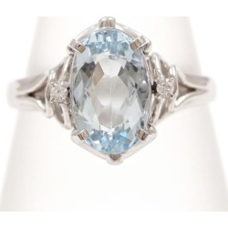 PT900 platinum ring 14 aquamarine diamond 0.02 used jewelry ★★ giftwrapping for free