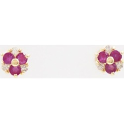 K18 18-karat gold YG yellow gold pierced earrings ruby diamond used jewelry ★★ giftwrapping for free
