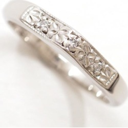 PT900 platinum ring 6 diamond 0.03 used jewelry ★★ giftwrapping for free