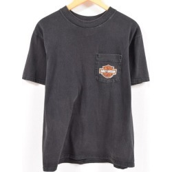 Men L /wbc3066 in the 90s made in motorcycle motorcycle T-shirt USA with the Harley-Davidson Harley-Davidson breast pocket