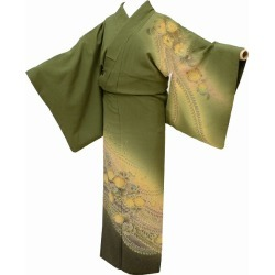 The L green system crossroads slightly plump a recycling visiting dress / pure silk fabrics newly made / recycling kimono / 袷裄 67.2cm L dress length 157cm M kimono recycling visiting dress beauty product are 花文様特品 ★★★★ mm1831b