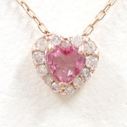 K10 10 gold PG pink gold necklace pink tourmaline diamond 0.09 used jewelry ★★ giftwrapping for free