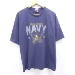 Old clothes T-shirt military navy NAVY big size dark blue navy XL size used men short sleeves