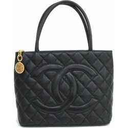 CHANEL (Chanel) here mark reproduction tote bag black black X gold metal fittings caviar skin netshop