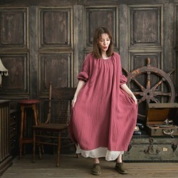 It is winter clothes in clothes fall and winter in autumn in autumn in the fall and winter latest dress long length A-line cotton cotton 100% long sleeves pink peach balloon dress layering chiffon skirt chiffon long skirt flared skirt lei yard 2019aw 2019