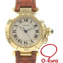 Cartier watch pasha 35baud is automatic car K18YG leather belt W3004856 Cartier self-winding watch machine type alligator 18-karat gold 750 yellow gold Lady's men man and woman combined use deep-discount pawnshop watch exemption from taxation A2177001