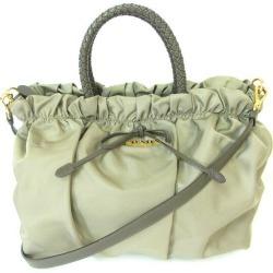 Prada PRADA BN1778 khaki ribbon gathers 2way bag handbag shoulder bag Lady's ★★