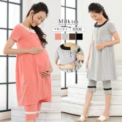 Breastfeeding Clothes Maternity One Piece Short Sleeve パールママ Pajamas Set found on Bargain Bro India from Rakuten Global for $52.00