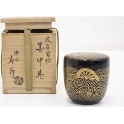 前端春斎造波車蒔絵黒中棗 [tea ceremony / tea set / tea service set / curio / tea / jujube]