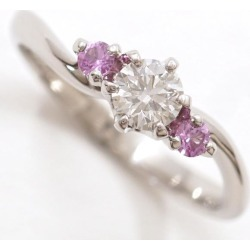 PT900 platinum ring 9 diamond 0.262 VS2 pink sapphire appraisal used jewelry ★★ giftwrapping for free