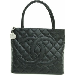 CHANEL (Chanel) here mark reproduction tote bag A01804 black black X silver metal fittings caviar skin netshop