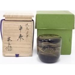 筑城筑良造漆塗沈金波車中棗 [tea ceremony / tea set / tea service set / curio / tea / jujube]