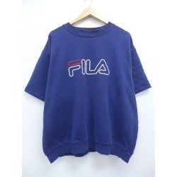 Old clothes short sleeves sweat shirt Fila FILA embroidery big size dark blue navy XL size used men sweat shirt trainer tops