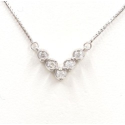 K14 14-karat gold WG white gold necklace diamond used jewelry ★★ giftwrapping for free
