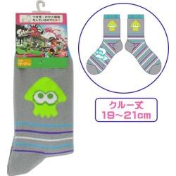 19-21cm crew sock gray border for the スプラトゥーン socks child