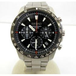 SEIKO SEIKO watch SSB091P1 chronograph analog quartz silver clockface black 100M date MOV'T JAPAN manual preservation box watch men Higashiosaka store 351727 RY1598