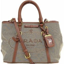 Take PRADA (Prada) 2WAY bag / handbag / long shoulder bag slant; beige jacquard netshop