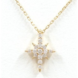Star jewelry K18YG necklace diamond 0.06 used jewelry ★★ giftwrapping for free