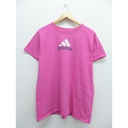Old clothes Lady's T-shirt Adidas adidas logo pink used Ron tea long shot T long shot T-shirt long shot T-shirt long sleeves ティーシャツティーシャツテ where clothes cut-and-sew Lady's fashion Ron T long length fashion is cute in autumn in the fall and winter sprin