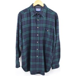 Men L vintage /wbi5718 in the 70~80 generation made in wool shirt USA with the pen Dalton PENDLETON Black Watch check elbow patch