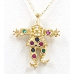 K18 18-karat gold YG yellow gold necklace emerald ruby sapphire used jewelry ★★ giftwrapping for free