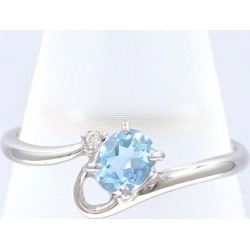 PT900 platinum ring 12 aquamarine diamond 0.01 used jewelry ★★ giftwrapping for free