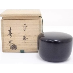 畠春斎造真塗平棗 [tea ceremony / tea set / tea service set / curio / tea / jujube]