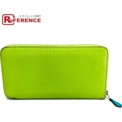 HERMES Hermes round fastener long wallet アザップロングシルクイン long wallet (there is a coin purse) ヴォーエプソンキウイグリーンレディース
