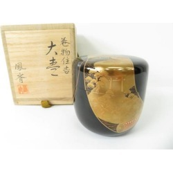 巻物住吉鳳斉棗 (with a cobox) [tea ceremony / tea set / tea service set / curio / tea / jujube]