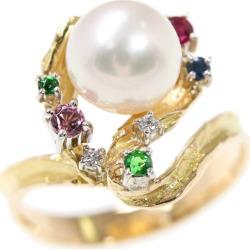 Koji Iwakura pearl oyster pearl, ruby sapphire emerald pink tourmaline diamond ring, ring /K18/750 X Pt900 combination -5.0g/12 /#52/ multicolored /Koji Iwakura ■ 301117