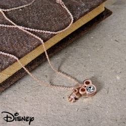 Use of Disney necklace Swarovski 18-karat gold finish Disney Disney 18-karat gold pink gold finish Mickey face & hand necklace Swarovski adult Disney collaboration-limited official license product Mickey