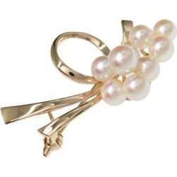 TASAKI (Tasaki, Tasaki Shinju) ribbon motif 9P, pearl oyster pearl /Japan Pearl/ cultured pearl, ribbon broach pin-tuck /K14PG/585-4.3g/ cherry tree gold X white /TASAKI PEARL/h190706 ■ 295385