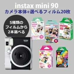 Fujifilm Instant Camera Cheki Instax Mini 90 Neoclassical With 2 Films