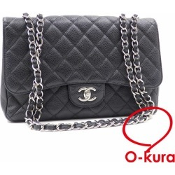Chanel W chain shoulder bag matelasse Lady's black black caviar skin CHANEL here mark silver metal fittings shawl leather leather deep-discount exemption from taxation A4030463