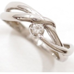 PT900 platinum ring 8 diamond 0.10 used jewelry ★★ giftwrapping for free