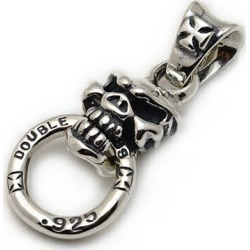 Pendant Pds020 Biting Speed Skull Pendant With Cross Bale And Duble Cross