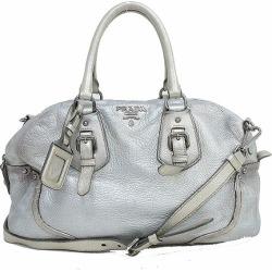 PRADA (Prada) 2WAY Boston shoulder bag silver leather netshop
