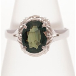 PT900 platinum ring 14.5 green sapphire used jewelry ★★ giftwrapping for free