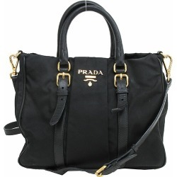 Take a PRADA (Prada) 2WAY hand long shoulder bag slant; black black nylon X leather netshop