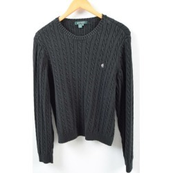 Ralph Lauren Ralph Lauren LAUREN Lauren cable knitting cotton knit sweater Lady's XL /wbb4323