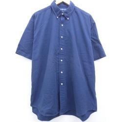 Old clothes short sleeves shirt Ralph Lauren Ralph Lauren logo big size dark blue navy XL size used men tops