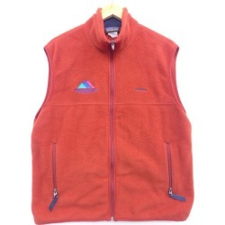 Old clothes patagonia Patagonia fleece best logo SMU embroidery シンチラ red system red large size used men outer